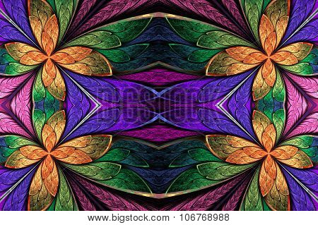 Symmetrical Flower Pattern In Stained-glass Window Style On Dark. Green, Violet And  Orange Palette.