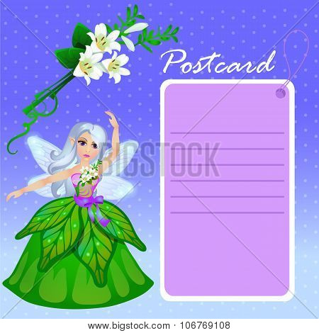 Doll forest elf in green dress with purple card