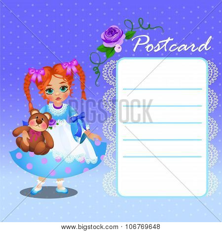 Doll little girl in blue dress with card