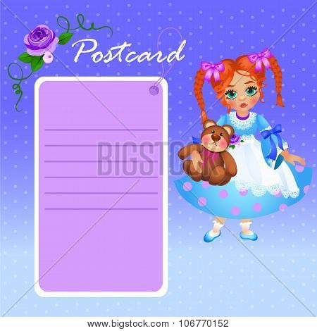 Cute doll little girl in blue dress with pink card