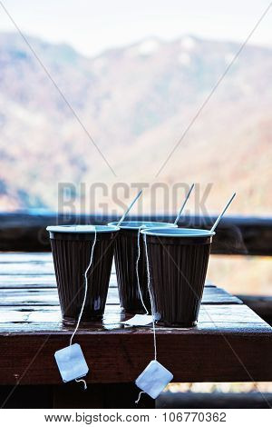 View Of The Mountain With Hot Tea Refreshment