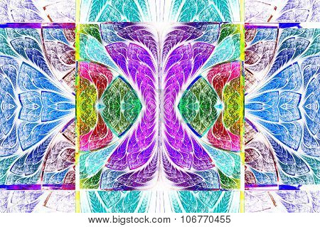 Multicolored Symmetrical Geometric Pattern In Stained Glass Style. On White. Computer Generated Grap