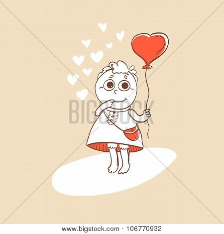 Cute romance card with balloon and character