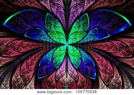 Multicolored Symmetrical Fractal Pattern As Flower Or Butterfly In Stained-glass Window Style.