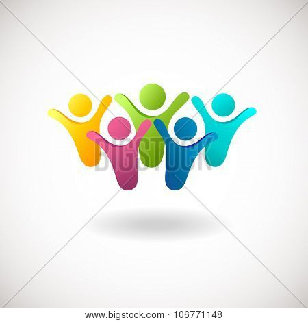Abstract people logo, sign, icon. Blue, pink, green and yellow people symbols. Colorful  concept for social network, team work, business company, partnership, friends, family and other