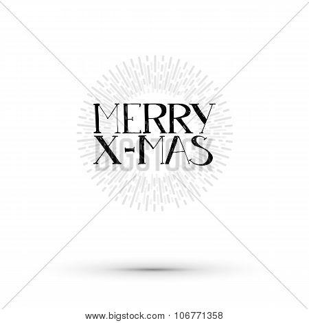 Merry X-mas lettering illustration