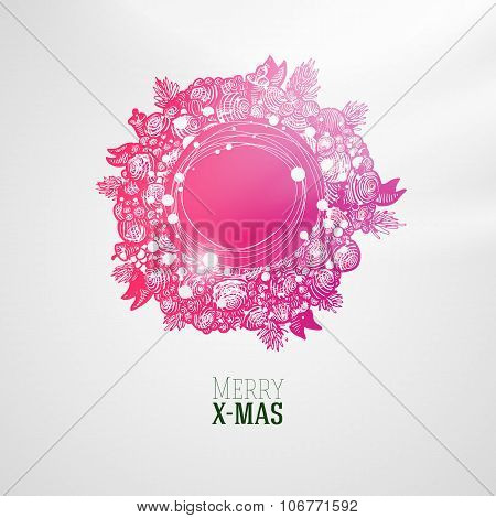 Fashion style colorful Xmas wreath illustration