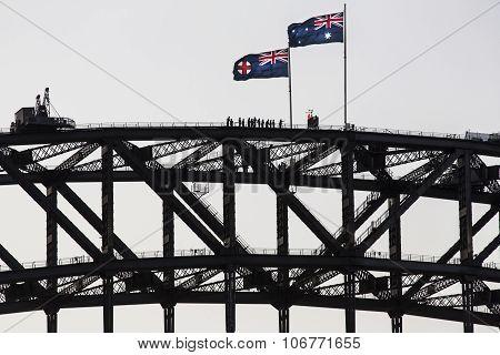 Bridge climbers at the top of the Sydney harbour bridge