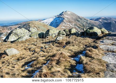 Dumbier Is Highest Peak Of Slovak Mountains Low Tatras, Slovakia, Hiking Theme, Big Stones