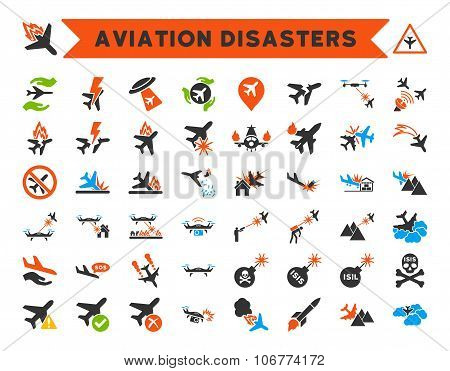 Aviation Disasters Vector Icons