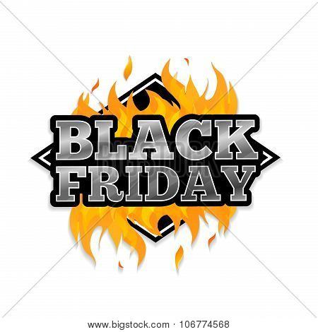 Triangular retro logo, icon, label, sticker for Black Friday. The pattern of the fire. Vector