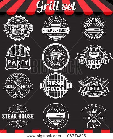 Grill Vintage Design Elements And Badges Set On Chalkboard