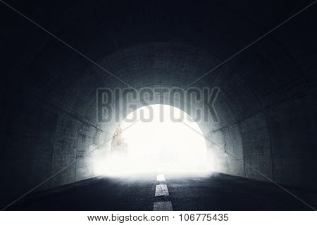 Darken Tunnel With Fog And Light At The End Of Tunnel