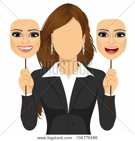 faceless woman holding happy and angry mask