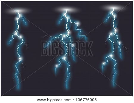 Three Vector Blue Oblique Branchy Lightning Lines