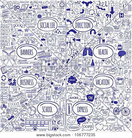 Mega set of doodle icons