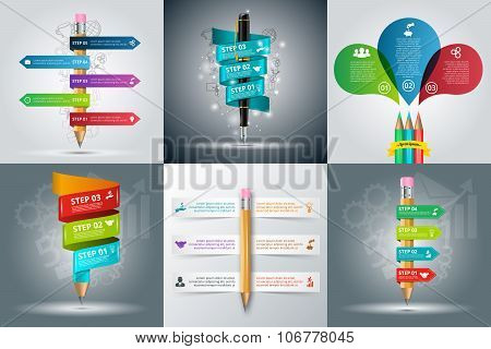 Vector education infographic with pencil and pen.