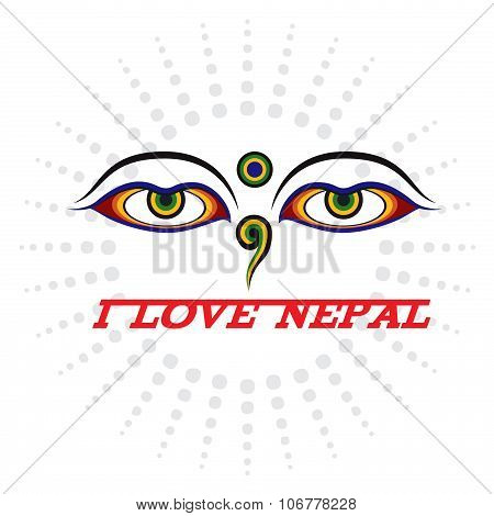 Eye of Wisdom sign and I LOVE NEPAL
