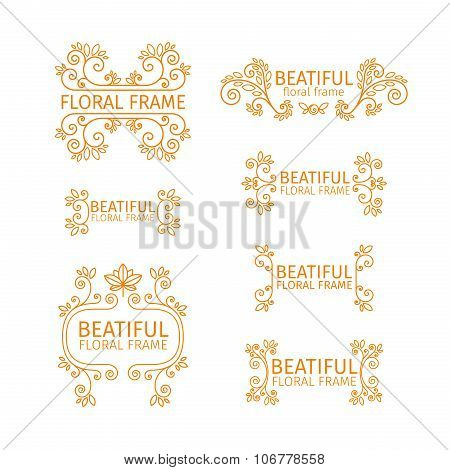 Set of vintage logo templates with floral elements, spirals, frames and borders. For restaurants, in