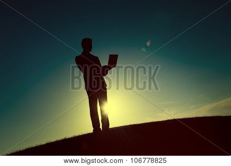 Businessman Business Working Outdoors Laptop Concept