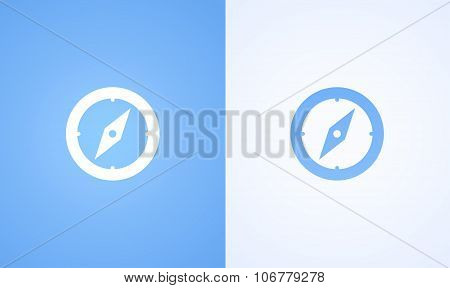 Compass On Blue And White Background