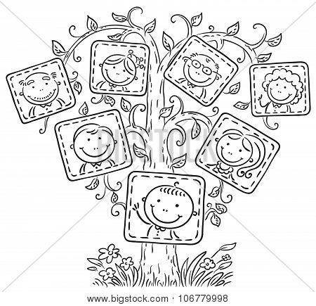 Family Tree In Pictures, Black And White Outline