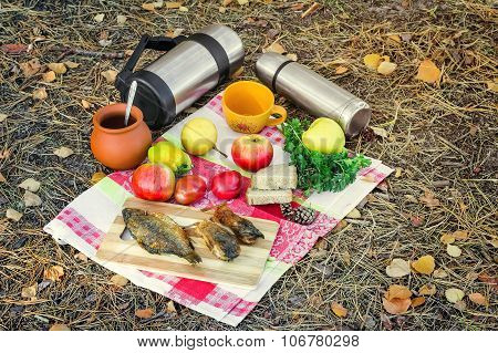 Coffee And Food For A Picnic In The Woods