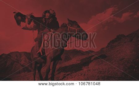 Mongolian Man Trained Eagle Kazakh Olgei Western Concept