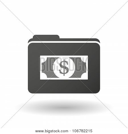 Isolated Binder With A Dollar Bank Note