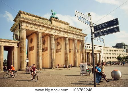Tourists Walking Around Famous Historical Brandenburg Gate