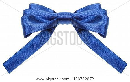 Symmetrical Blue Ribbon Bow With Square Cut Ends