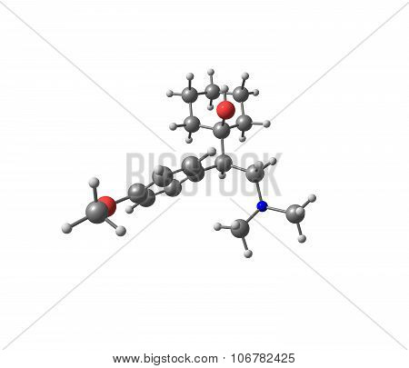 Venlafaxine is an antidepressant of the serotonin-norepinephrine reuptake inhibitor class. 3d illustration