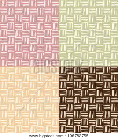 Four Seamless Patterns With Hand Drawn Line Grid
