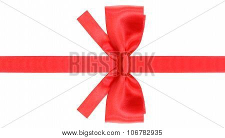 Symmetric Red Bow With Square Cut Ends On Ribbon