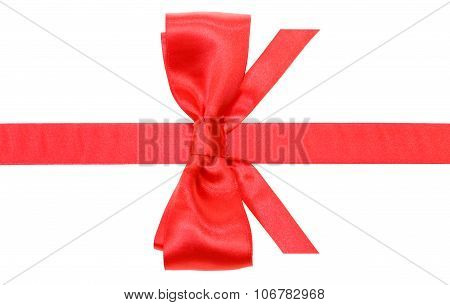 Real Red Bow With Vertically Cut Ends On Band