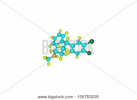 Sertraline is an antidepressant of the selective serotonin reuptake inhibitor, 3d illustration