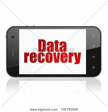 Data concept: Smartphone with Data Recovery on display