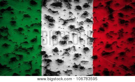 Flag of Italy, Italian flag painted on wall with bullet holes