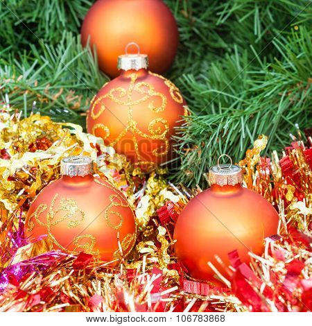 Orange Christmas Balls, Red Tinsel On Xmas Tree 5