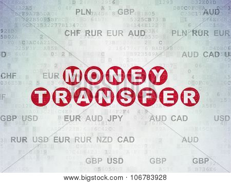 Currency concept: Money Transfer on Digital Paper background