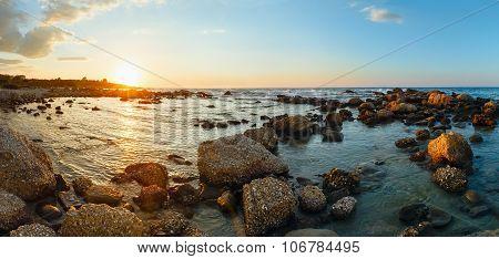 Summer Coastline Sunset (greece, Zakynthos, Alykes, Ionian Sea).
