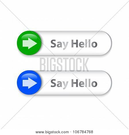 Arrow Sign On Metallic Slider With Say Hello Words