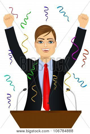 politician man celebrating with fists up at podium