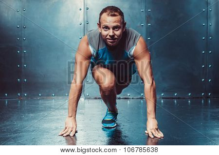 Runner, Sportsman Muscular Man In A Position Of Readiness, Sport, Run.