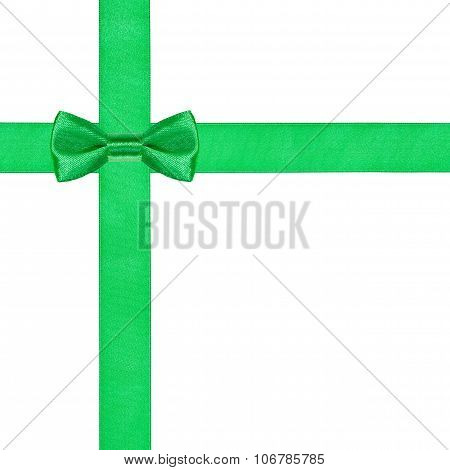 One Green Bow Knot On Two Crossing Satin Ribbons