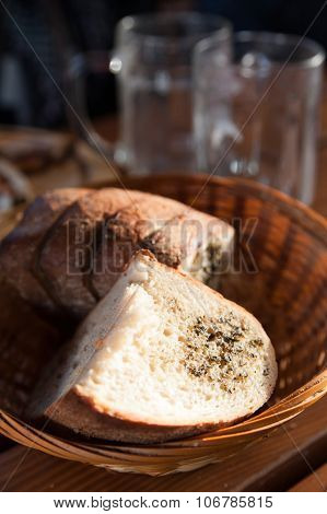 Fresh traditional roasted Czech bread with spicy herbs and melted butter