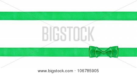 Double Green Bow Knot On Two Parallel Silk Ribbons