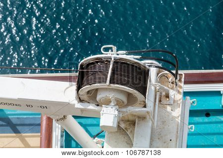 Cable On Winch Over Sea