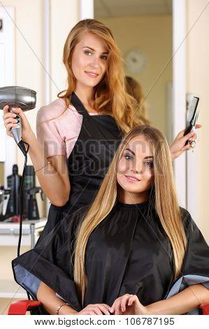 Beautiful Blonde Female Hairdresser