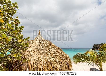 Thatched Roof On Curacao Beach